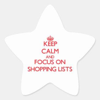 Guarde la calma y el foco en listas de compras pegatina forma de estrella personalizadas