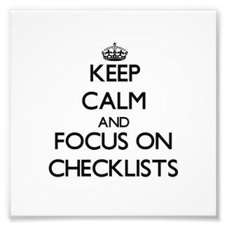 Guarde la calma y el foco en listas de control
