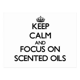 Guarde la calma y el foco en los aceites perfumado postales