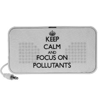Guarde la calma y el foco en los agentes contamina portátil altavoz