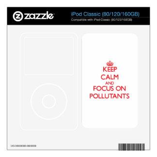 Guarde la calma y el foco en los agentes contamina calcomanía para iPod