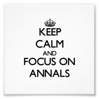 Guarde la calma y el foco en los anales