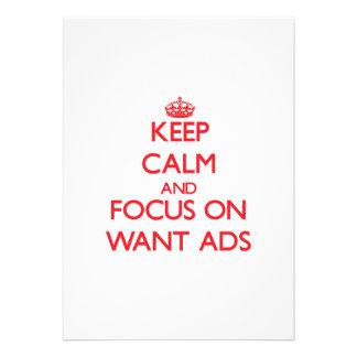 Guarde la calma y el foco en los anuncios Want Anuncios