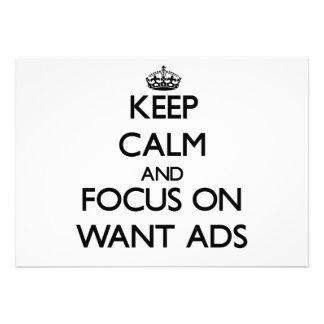 Guarde la calma y el foco en los anuncios Want Comunicado Personal