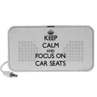 Guarde la calma y el foco en los asientos de carro iPod altavoz