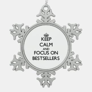 Guarde la calma y el foco en los bestsellers adorno