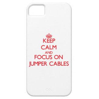 Guarde la calma y el foco en los cables de puente iPhone 5 carcasas