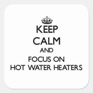 Guarde la calma y el foco en los calentadores de pegatina cuadrada
