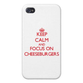 Guarde la calma y el foco en los cheeseburgers iPhone 4/4S carcasa