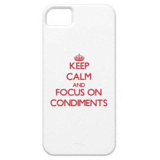 Guarde la calma y el foco en los condimentos iPhone 5 carcasas