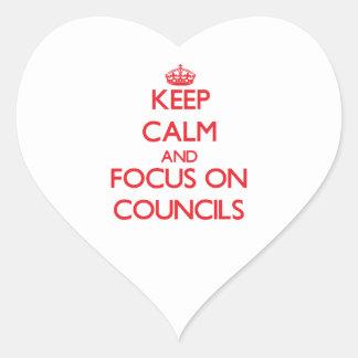 Guarde la calma y el foco en los consejos calcomanía de corazón