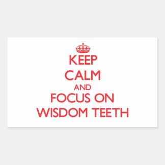 Guarde la calma y el foco en los dientes de pegatina rectangular