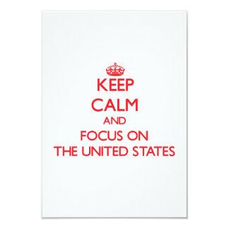 """Guarde la calma y el foco en los Estados Unidos Invitación 3.5"""" X 5"""""""