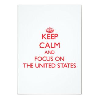 """Guarde la calma y el foco en los Estados Unidos Invitación 5"""" X 7"""""""
