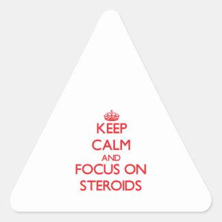 Guarde la calma y el foco en los esteroides calcomanías trianguloes personalizadas