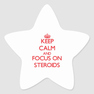 Guarde la calma y el foco en los esteroides calcomanías forma de estrellaes