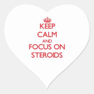 Guarde la calma y el foco en los esteroides colcomanias corazon