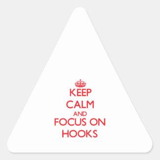 Guarde la calma y el foco en los ganchos pegatina triangular