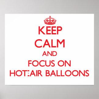 Guarde la calma y el foco en los globos de aire ca
