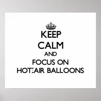 Guarde la calma y el foco en los globos de aire ca impresiones