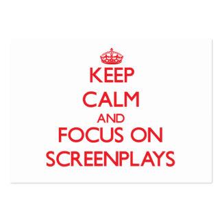 Guarde la calma y el foco en los guiones tarjeta personal