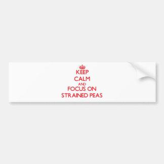 Guarde la calma y el foco en los guisantes etiqueta de parachoque