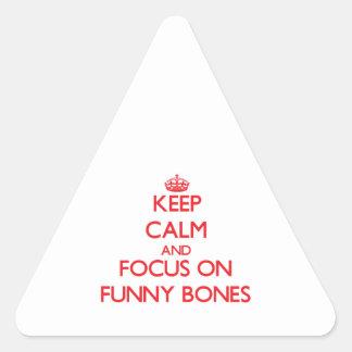 Guarde la calma y el foco en los huesos de la risa colcomanias trianguladas personalizadas