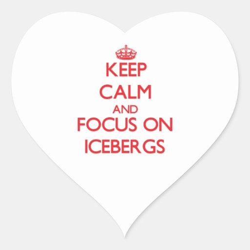 Guarde la calma y el foco en los icebergs pegatinas corazon