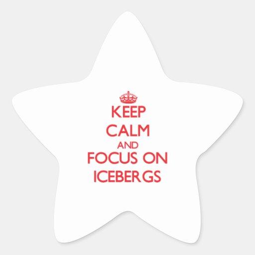Guarde la calma y el foco en los icebergs pegatinas forma de estrella personalizadas