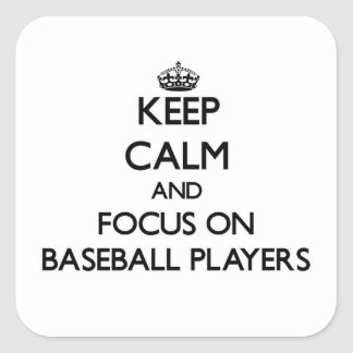 Guarde la calma y el foco en los jugadores de pegatina cuadrada