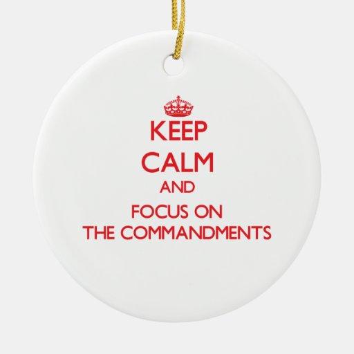 Guarde la calma y el foco en los mandamientos adorno de navidad