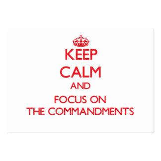 Guarde la calma y el foco en los mandamientos plantilla de tarjeta de negocio