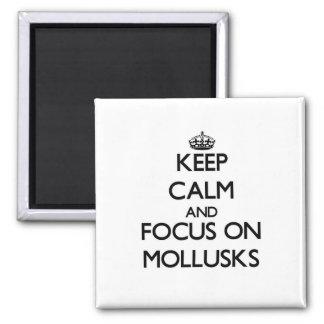 Guarde la calma y el foco en los moluscos imán de frigorifico