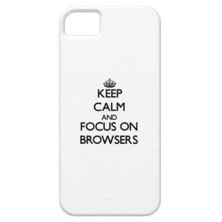 Guarde la calma y el foco en los navegadores iPhone 5 protector