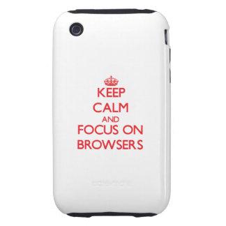 Guarde la calma y el foco en los navegadores tough iPhone 3 cárcasa