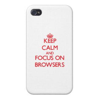 Guarde la calma y el foco en los navegadores iPhone 4 carcasas