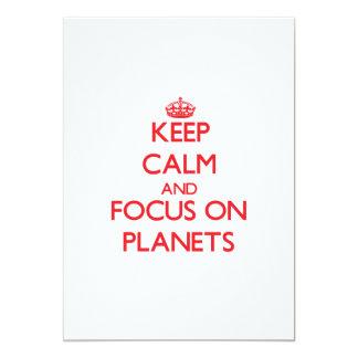 """Guarde la calma y el foco en los planetas invitación 5"""" x 7"""""""