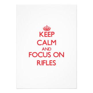 Guarde la calma y el foco en los rifles anuncios personalizados