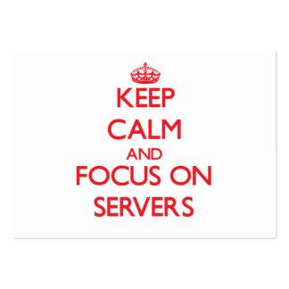 Guarde la calma y el foco en los servidores tarjetas de visita grandes