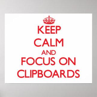 Guarde la calma y el foco en los tableros impresiones