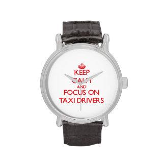 Guarde la calma y el foco en los taxistas relojes de pulsera