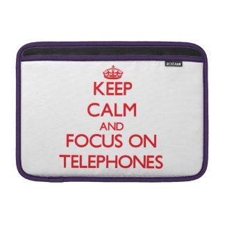 Guarde la calma y el foco en los teléfonos funda para macbook air