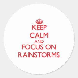 Guarde la calma y el foco en los temporales de pegatinas redondas