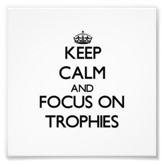 Guarde la calma y el foco en los trofeos fotografias