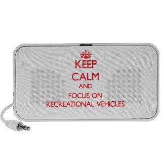 Guarde la calma y el foco en los vehículos recreat notebook altavoz