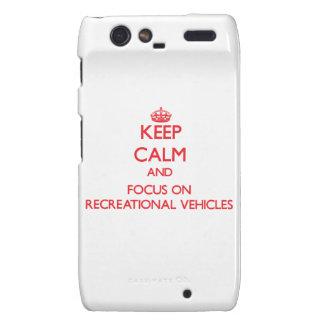 Guarde la calma y el foco en los vehículos recreat droid RAZR carcasas