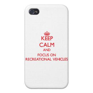 Guarde la calma y el foco en los vehículos recreat iPhone 4 coberturas