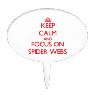 Guarde la calma y el foco en los Web de araña Decoración Para Tarta