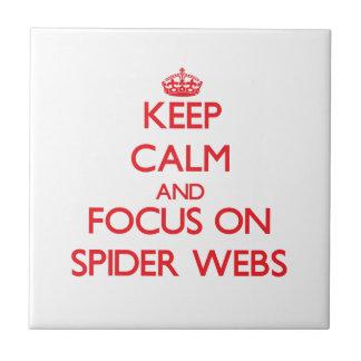 Guarde la calma y el foco en los Web de araña Azulejo Cerámica