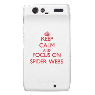 Guarde la calma y el foco en los Web de araña Motorola Droid RAZR Funda